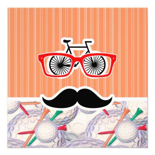 Moustache, boules de golf et tee - shirt aléatoire invitation