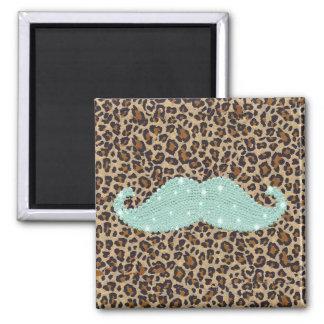 Moustache et poster de animal verts turquoises drô magnets pour réfrigérateur