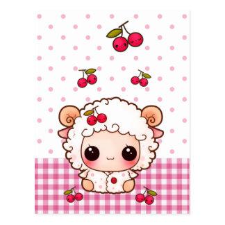 Moutons mignons de bébé avec des cerises de kawaii cartes postales
