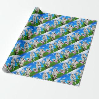 Moutons sautants papier cadeau