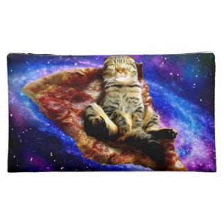 Moyenne Trousse De Maquillage chat de pizza - chat fou - chats dans l'espace