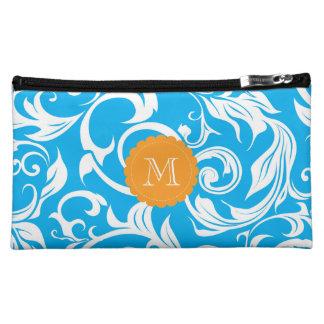 Moyenne Trousse De Maquillage Monogramme floral orange bleu de rouleau d'Aqua