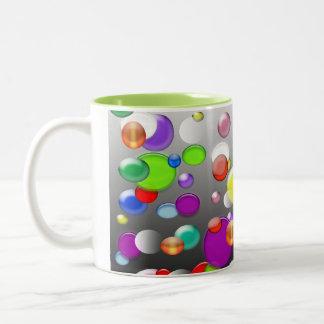 Mub coloré de café d'illustration de bulles mug bicolore