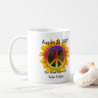 Mug 2017 éclipse solaire, tournesol et symbole de paix