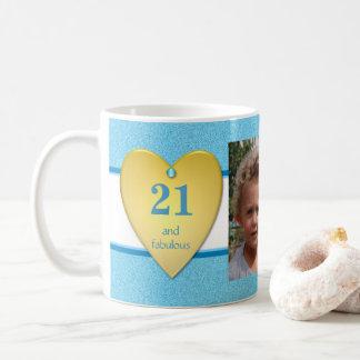 Mug 21ème bleu personnalisé de photo d'anniversaire