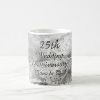 Mug 25ème Typographie argentée chic d'anniversaire de