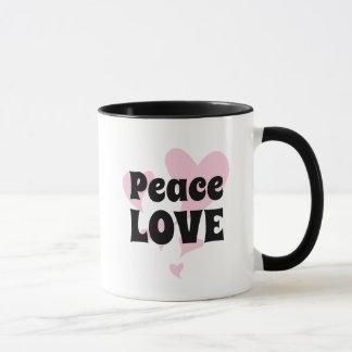 Mug Amour de paix sur flotter les coeurs roses