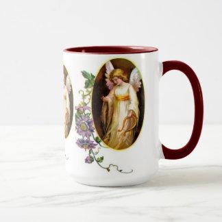 Mug Ange avec des fleurs d'harpe et de clématite