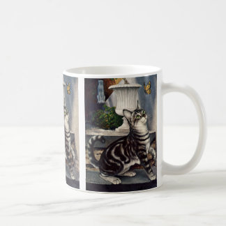 Mug Animaux vintages, chat tigré mignon et papillon