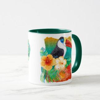 Mug Aquarelle tropicale de fan de toucan