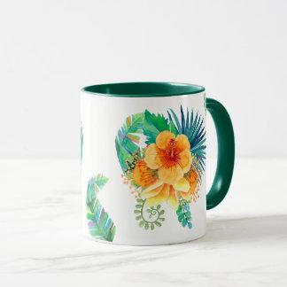 Mug Aquarelle tropicale de ketmie florale