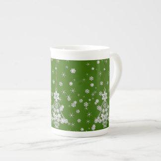 Mug Arbre et flocons de neige de Noël blanc fleuri