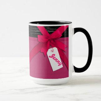 Mug Arc rose à la mode sur le cuir noir et rose