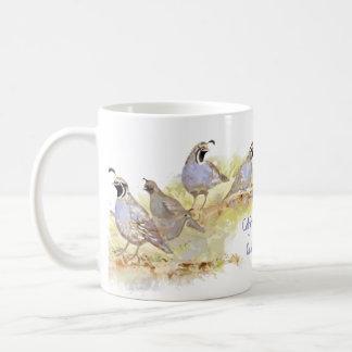 Mug Art mignon d'oiseau de cailles de Californie