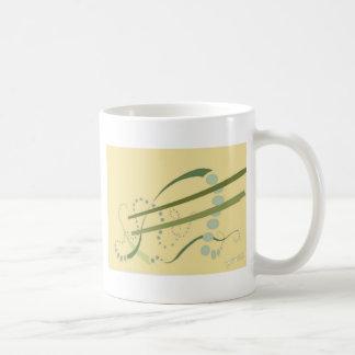 Mug Art moderne d'abrégé sur jaune vert olive