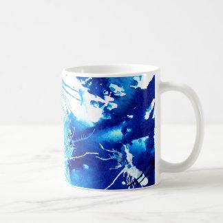 Mug Belle conception bleue d'art abstrait d'encres