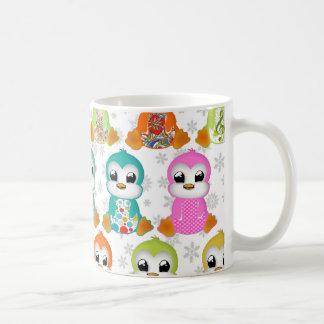 Mug Belles fleurs colorées mignonnes de pingouins