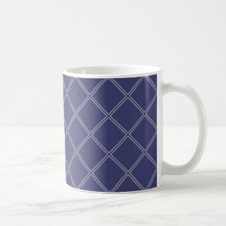 Mug Bleu marine et motif géométrique argenté de