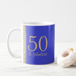 """Mug Bleu personnalisé """"50 et"""" cinquantième"""