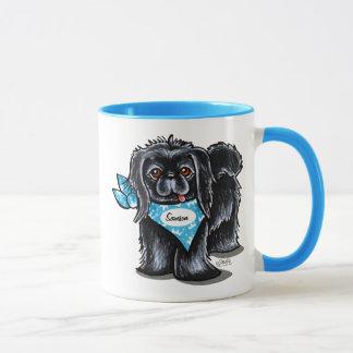 Mug Bleu personnalisé par nom d'animal domestique noir