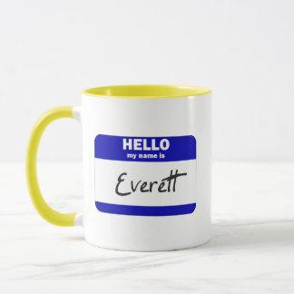 Mug Bonjour mon nom est Everett (bleu)