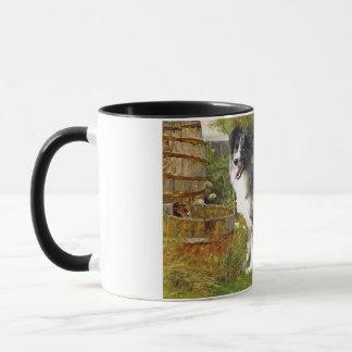 Mug Border collie à la ferme