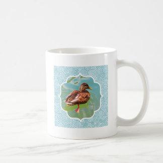 Mug Canard de natation avec la frontière turquoise de