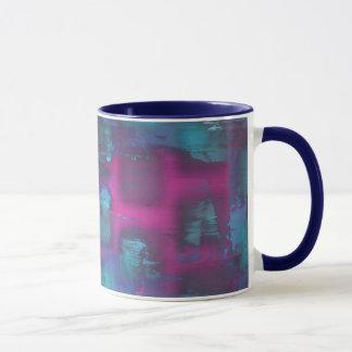 Mug Carrés fluorescents dans le motif pourpre et bleu