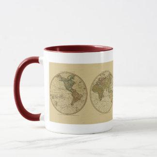 Mug Carte 1786 du monde d'antiquité par William Faden
