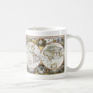 Mug Carte antique du monde par Hendrik Hondius, 1630