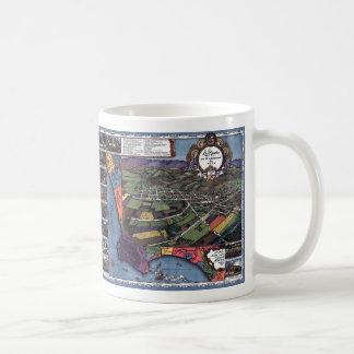 Mug Carte antique, ville aérienne de Los Angeles la