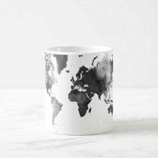 Mug CARTE du MONDE noire et blanche