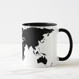 Mug carte graphique noire du monde