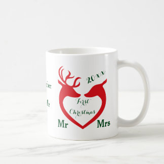 Mug Cerfs communs personnalisés de coeur mariés