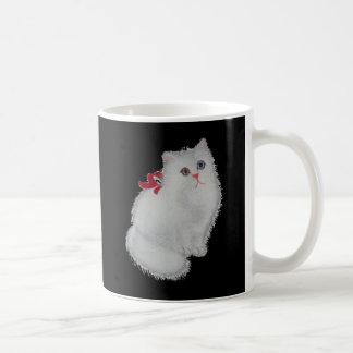 Mug Chat blanc avec le ruban rouge