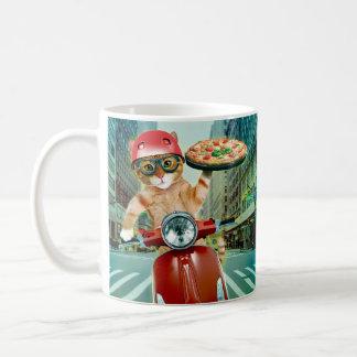 Mug chat de pizza - chat - la livraison de pizza