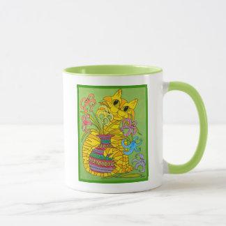 Mug Chat jaune avec le vase de lis