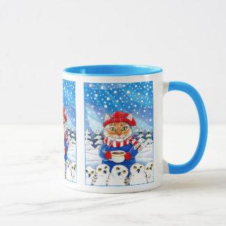 Mug Chat mignon, nature neigeuse d'hiver de hibou