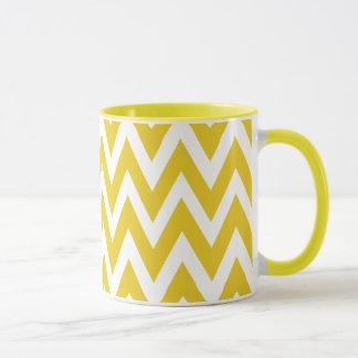 Mug Chevron rêve le café jaune et blanc de chevron