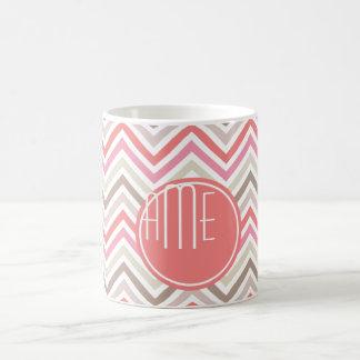 Mug Chevrons de sorbet avec les monogrammes triples
