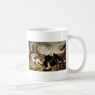 Mug Chiens apportant en bas d'un verrat par Frans