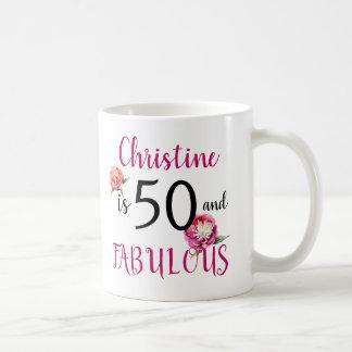 Mug Cinquante et cadeau fabuleux de pivoines
