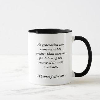 Mug Citation de DETTE de Thomas Jefferson