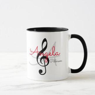 Mug clef triple décorée d'un monogramme, musique