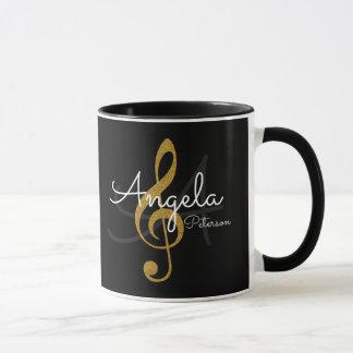 Mug clef triple d'or décorée d'un monogramme, noir de