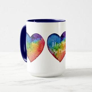 Mug Coeur mignon d'arc-en-ciel d'aquarelle
