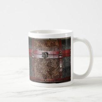 Mug Coffre de cru de cuir de rose de damassé