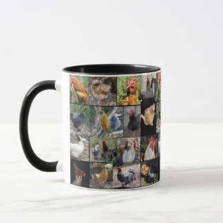 Mug Collage de photo de poulets et de coqs,