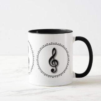 Mug Conception de note de musique de clef triple