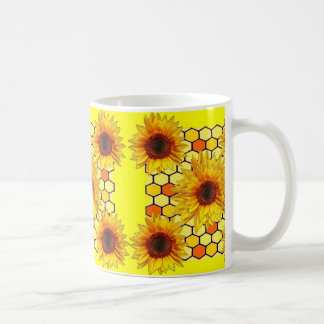 Mug Conception jaune de peigne de miel de tournesol